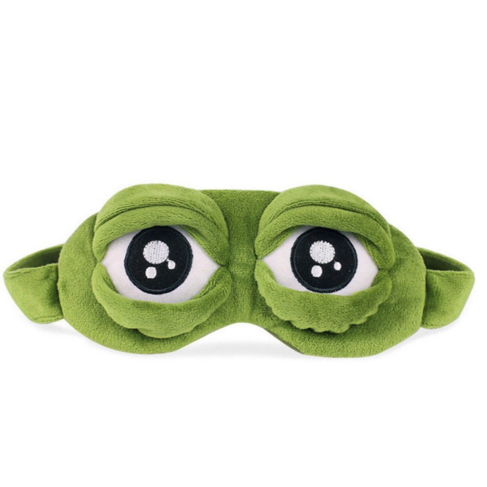 Barlingrock Eye Cover, Cute Frog Eyes Cover Blinders The Sad 3D Eye Mask Cover Sleeping Rest Sleep Anime Funny Gift for Travel, Sleeping, Aircraft