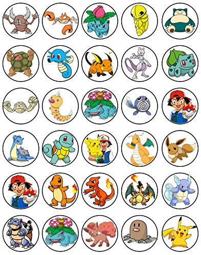 30 x Edible Cupcake Toppers - Pokemon Fun Party Collection of Edible Cake Decorations | Uncut Edible Prints on Wafer Sheet -