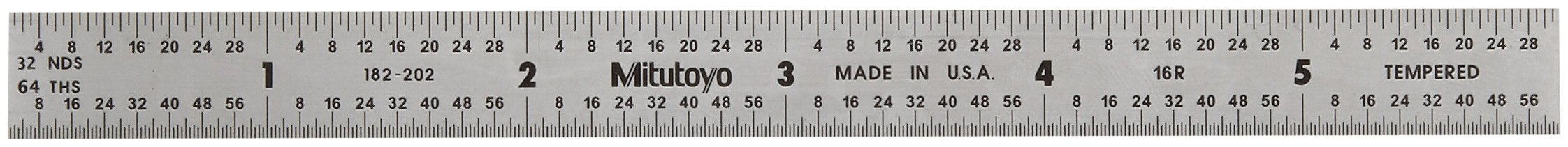 Mitutoyo 182-202, Steel Rule, 6'' (16R), (1/32, 1/64'', 1/50'', 1/100''), 1/64'' Thick X 1/2'' Wide, Satin Chrome Finish Tempered Stainless Steel