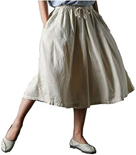 Eté Mode Elégante Pantalons Roche Femme Lin Taille Élastique Moyen Taille  Style de fête Bouffant Uni Manche Poches… f4e5dd91dae