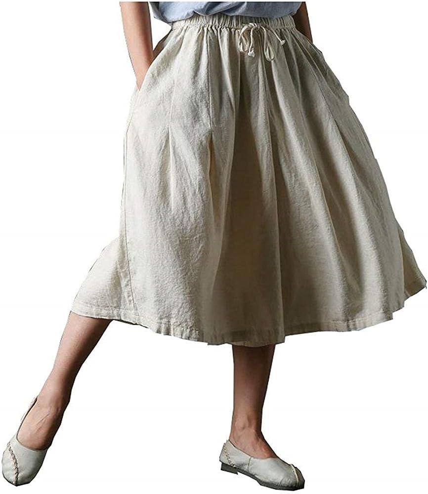 Verano Pantalones Falda Mujer Lino Elastische Taille Fiesta Estilo ...