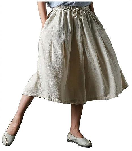 Verano Pantalones Falda Mujer Lino Elastische Taille Cintura Media ...