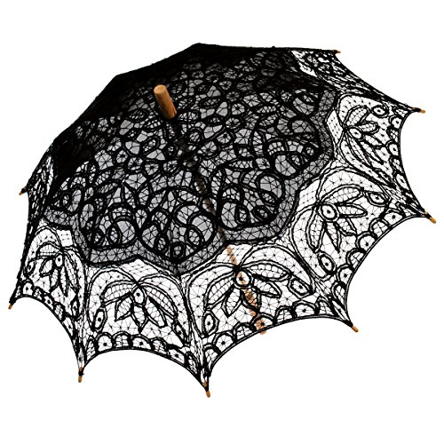 Remedios(19 colors) Black Vintage Bridal Wedding Cotton Lace Parasol Umbrella