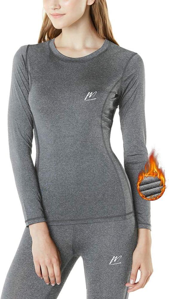 MeetHoo Conjunto Térmico Mujer Ropa Interior Termica Conjunto Camisetas Manga Larga + Pantalones Interiores Termicos Mujer Invierno Deporte para Esqui