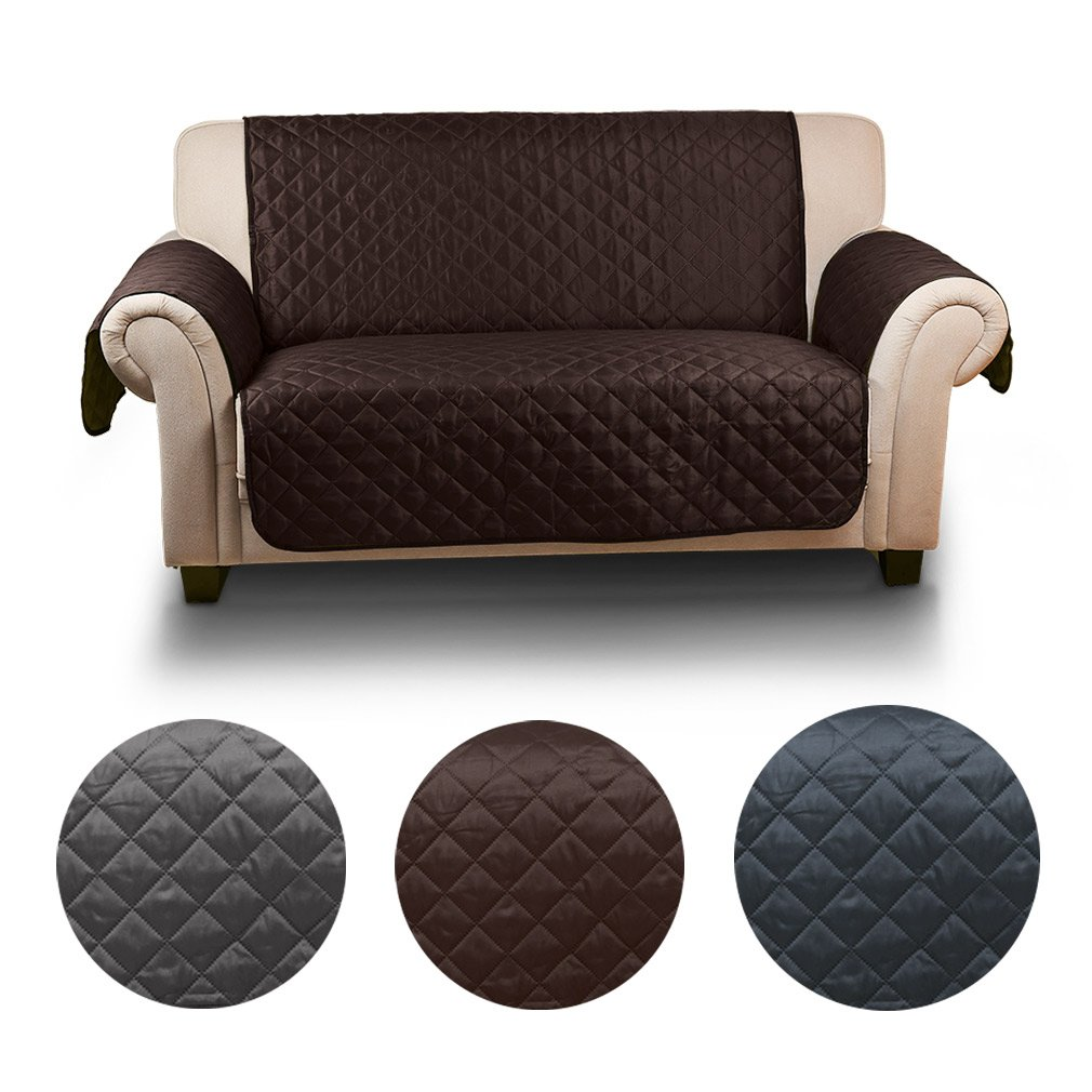 KINLO 1 Seater Sofa Proctector Water Resistant Quilted Furniture Covers Double sided for dogs/cats Bed with Sofa Slipcovers 177cm * 56cm(chocolate/beige) TOP KIN
