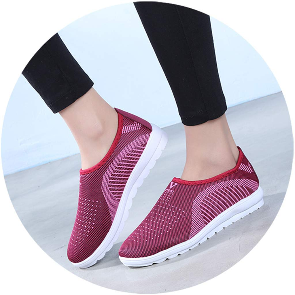 Goldweather Women Flat Sneakers Outdoor Casual Stripe Mesh Breathable Gym Walking Sports Slip On Shoes