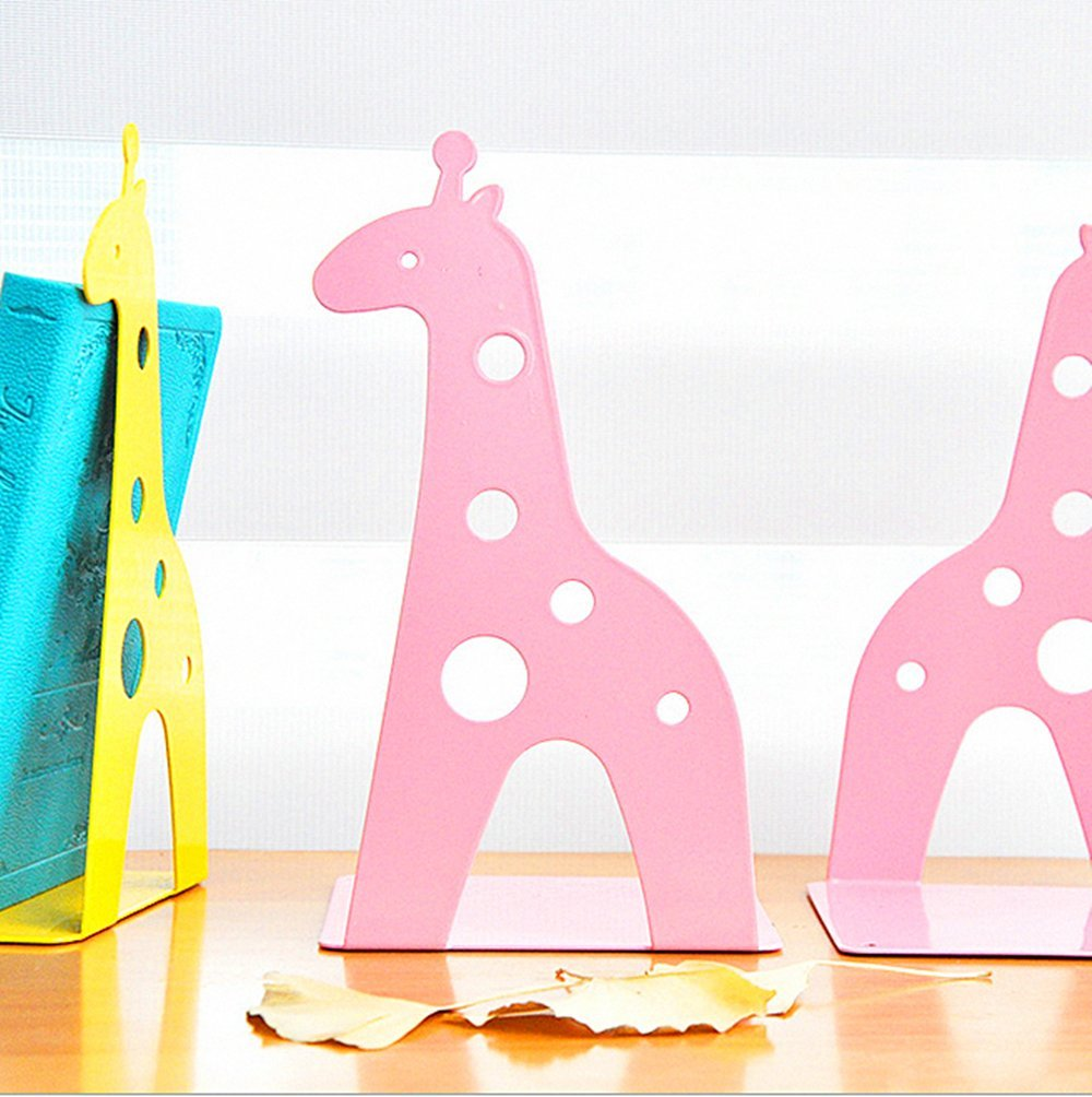 Leoyoubei steel Book Racks Cute Giraffe Art bookends Desk Accessories & Workspace Organizers, Kids bedroom Or playroom, office or gift -small books, CD and DVD,Book Organizer Non-slip 1 pairs Pink
