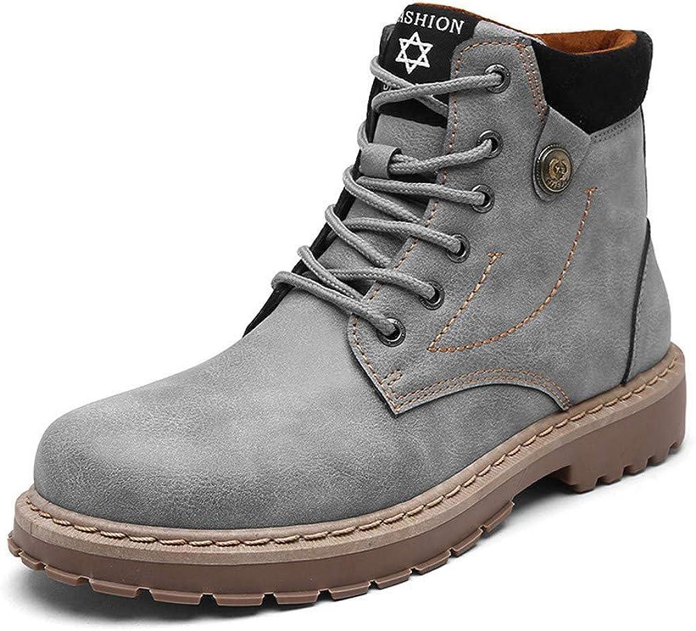 Zapatillas de Hombre BaZhaHei Botas de Cuero de los Hombres de la Moda de otoño e Invierno Botas de Herramientas Inglaterra Zapatos Hombres Ayuda Alta Botas para Hombre Zapatos Hombre
