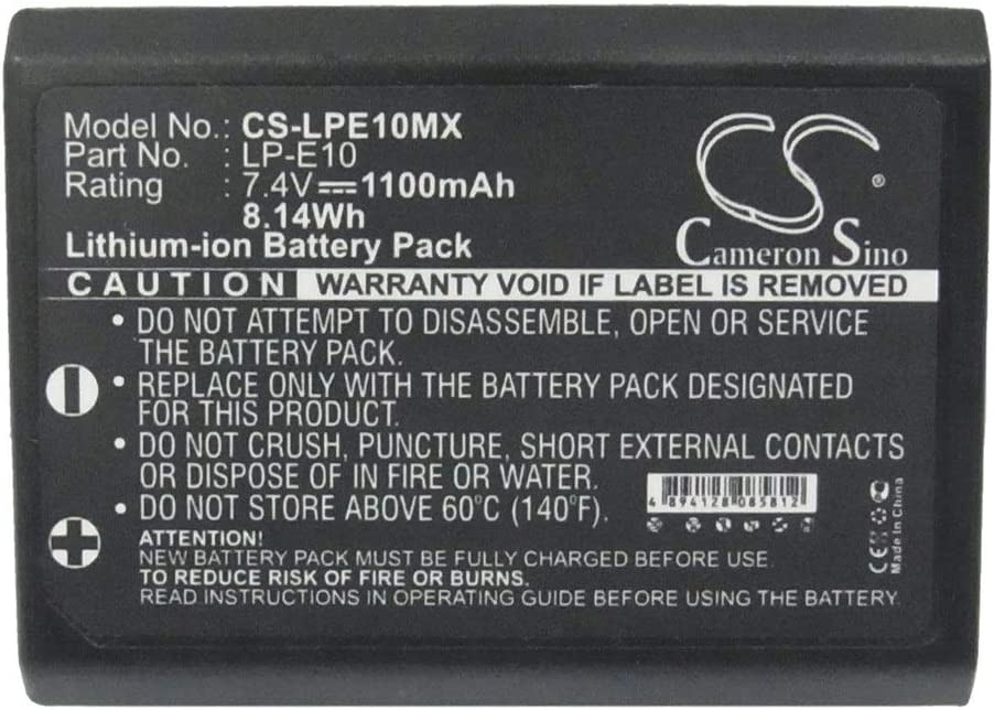 Battery Camera 1100mAh//8.14Wh 7.4V Camera Battery for Canon LP-E10//EOS 1100D EOS 1200D EOS 1300D Photo Battery Color : Black, Size : 50.37 x 36.16 x 14.72mm