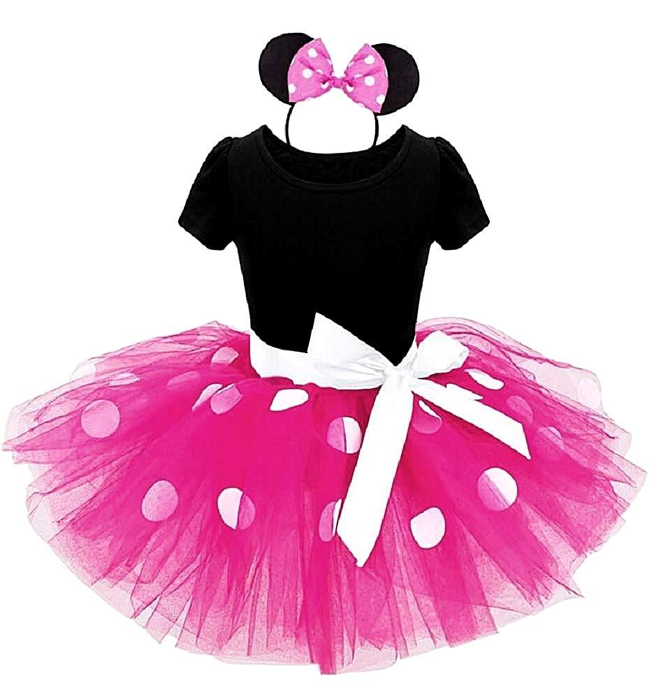 tut/ù Abito Halloween Accessori Costume Topolina Body Carnevale Cerchietto Taglia 90-2 anni Minnie tulle Fuxia Costumino Bambina Idea regalo natale compleanno