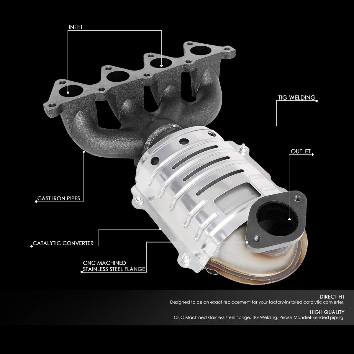 DNA MOTORING OEM-CONV-020 Factory Style Catalytic Converter Front Exhaust Manifold