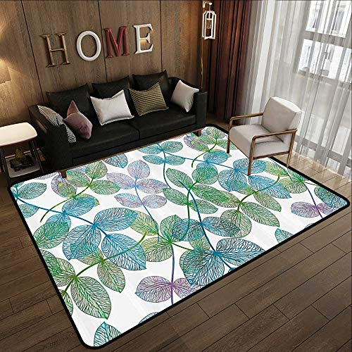 Contemporary Synthetic Rug,Floral,Flowers Leaves Ivy Vein Like Rainbow Ombre Colored Art Print,Light Blue Fern Green Purple White 47