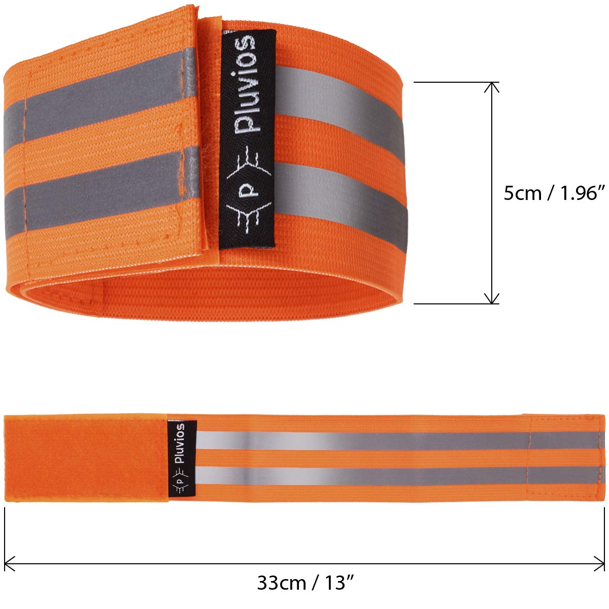 Pluvios 2 Pack Reflective Hi-Vis Armbands//Ankle Straps Adjustable Running Cycling Dog Walking Safety