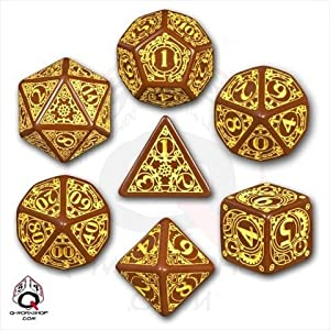 Q Workshop SSTE32 Steampunk Dice Brown Yellow Dice Set 7