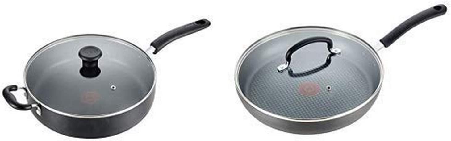 T-fal B36290 Specialty Nonstick 5 Qt. Jumbo Cooker Sauté Pan with Glass Lid, Black AND T-fal E76507 Ultimate Hard Anodized Nonstick 12 Inch Fry Pan with Lid, Dishwasher Safe Frying Pan, Black
