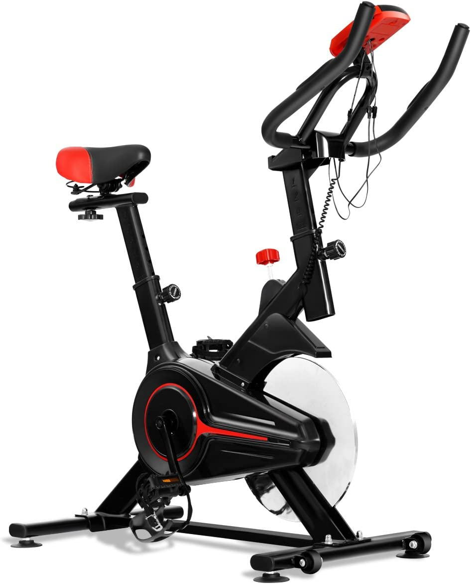 Gymax Indoor Stationary Exercise Bike, Adjustable Cycling Bike for Home with LED Display Heart Pulse Sensor