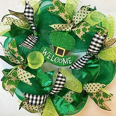 St. Patrick's Day Deco Mesh Wreath for Front Door
