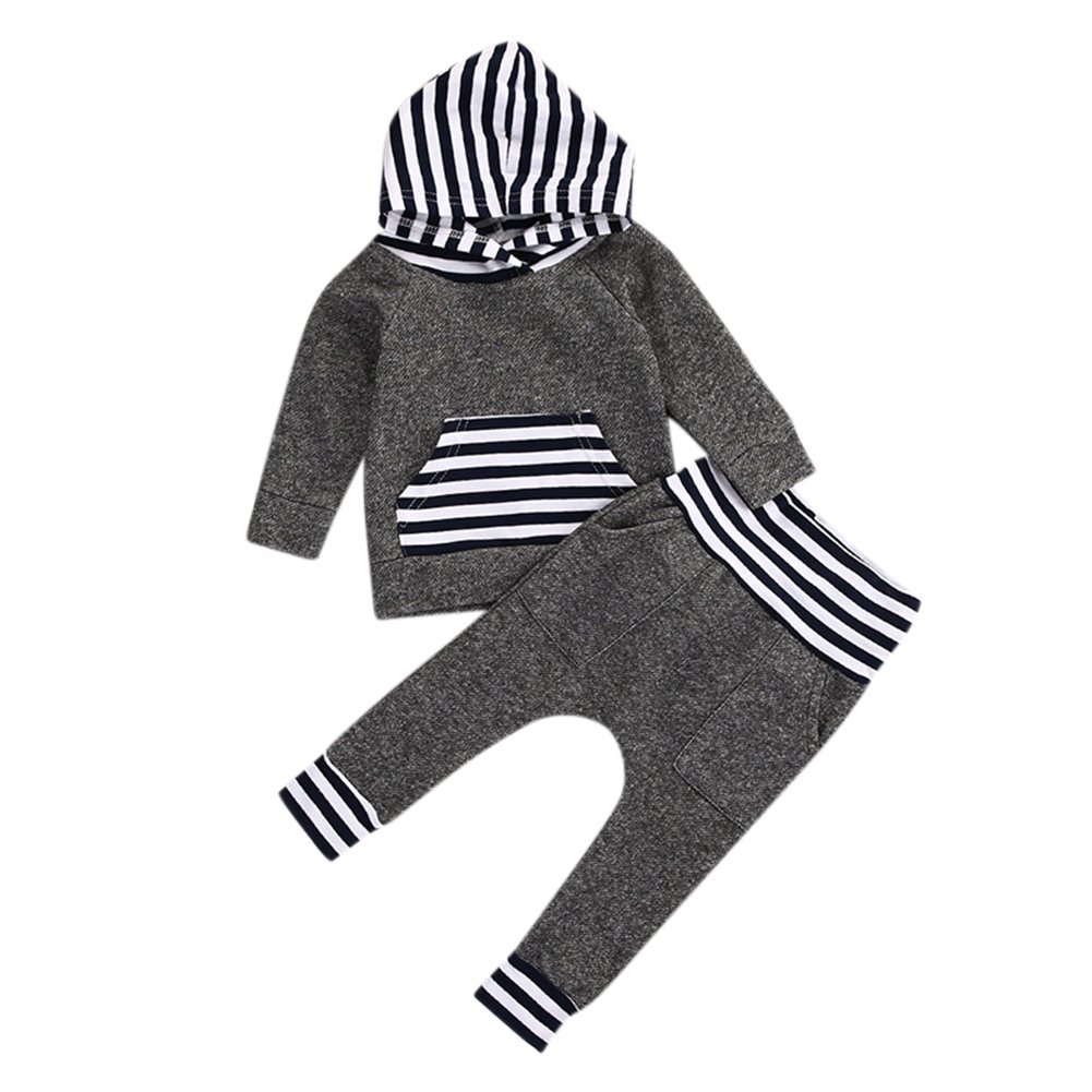RONSHIN 2pcs Infant Baby Clothing Set Gray Striped Long Sleeve Hooded Tops Tee Shirts + Long Elastic Pants Outfits Clothes