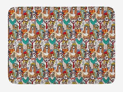YVSXO Dog Bath Mat, Hipster Bulldog Schnauzer Pug Breeds with Glasses Hats Scarf Pattern Colorful Cartoon, Plush Bathroom Decor Mat with Non Slip Backing, 23.6 W X 15.7 L Inches, Multicolor ()