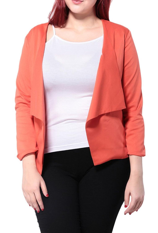 Woo2u Women Plus Solid Casual Long Sleeve Loose Open Front Coat