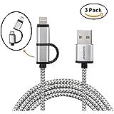 rukerway Cable USB de nailon trenzado 3Packs (2* 1m, 1* 2m) 2-in-1a rápida transmisión de datos y cable Lightning Cable Mini USB para iPhone Android Smartphone Samsung, Estación de carga y usb hub