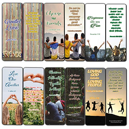 Scriptures Bookmarks - Bible Verses About Friendship (60 Pack) - Perfect Gift Away for Sunday School and Ministries (Best Bible Verses About Forgiveness)