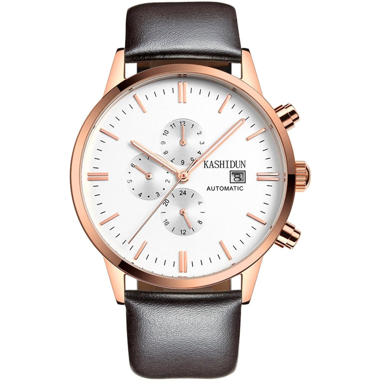 Automatische mechanische Uhren-Multifunktionale sechs Pin Watch- einfache wasserdichte Armbanduhr-D