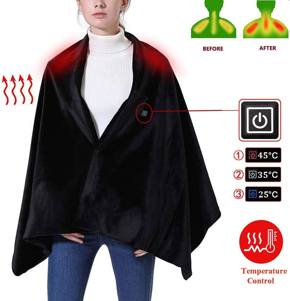 Cordless Heated Blanket Shawl Battery Operated, Heating Blanket Pad for Neck and Shoulders with Auto Shutoff, Heated Cape Heating Soft Flannel Lap Blanket - Washable 168x65cm