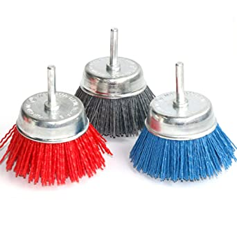 """Abrasive Wire Nylon Cup Brush for Rust Remover Deburring 1//4/"""" Shank 80//120//240#"""