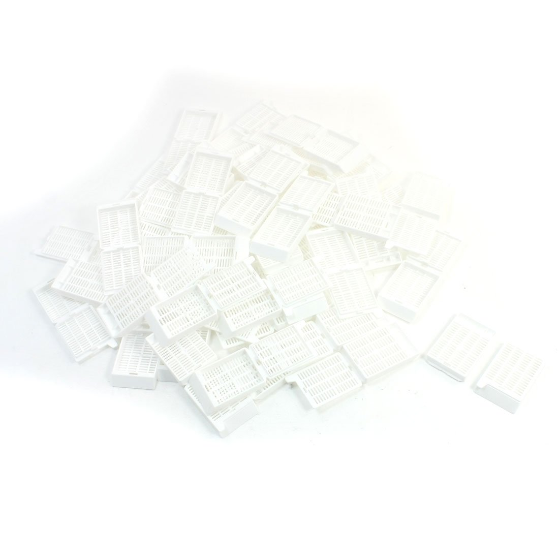 50Pcs White Histology Tissue Embedding Cassette Hinge-lock Strip Hole
