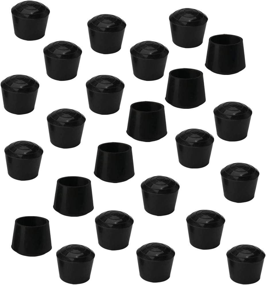 uxcell 24pcs Chair Leg Tips Caps 25mm 1 Inch Anti Slip Rubber Furniture Table Feet Cover Floor Protector Reduce Noise Prevent Scratches Black