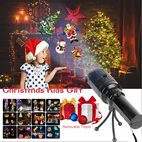 Flexible Tripod Flashlight - Ayasoon Kids LED Projector Lights, Battery Operated Handheld Flashlight with 12 Decorative Projection Slides, Tripod, Dynamic & Static Images Christmas Party Birthday Holiday Decoration