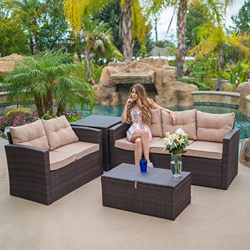 All Weather Wicker 4 Piece - Belleze Outdoor 4 Piece Wicker Sofa Set All Weather Washable Seat Cushions Dual Storage Ottomans Sectional Patio Brown