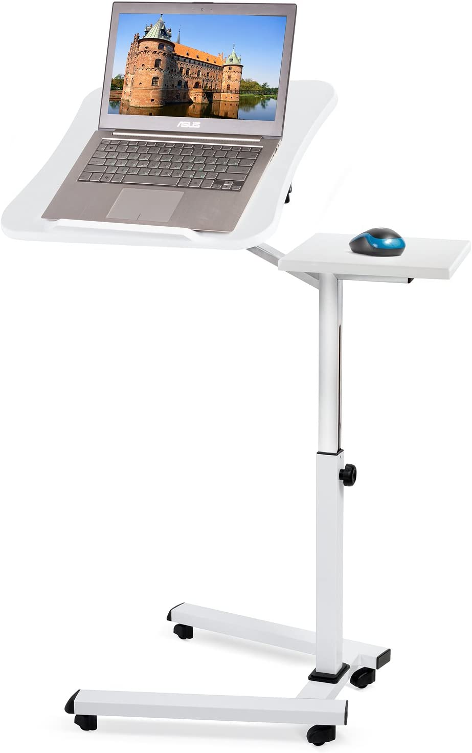 Tatkraft Like Portable Laptop Desk with Mouse Pad, Rolling Computer Stand with Adjustable Height, Sturdy and Ergonomic, White