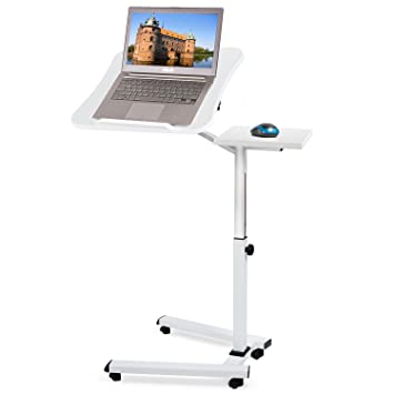 Tatkraft Like Mesa Ordenador Portátil con Ruedas y Soporte para Ratón Escritorio Laptop Altura Ajustable Blanco