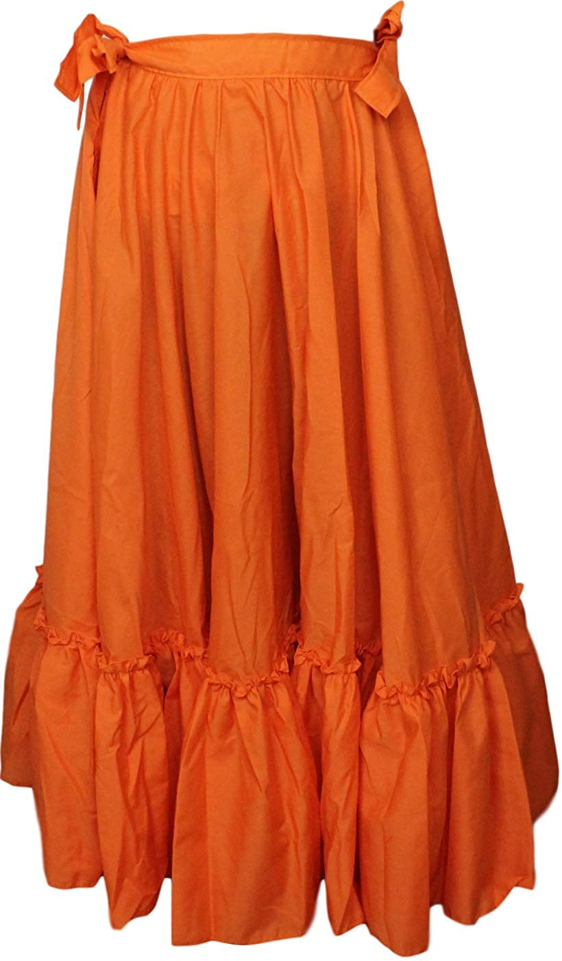 Mexican Full Folkloric Women's Flamenco Orange Dance Skirt - DeluxeAdultCostumes.com