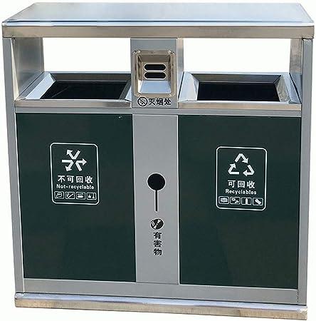 Papeleras Contenedores comerciales, Papelera de Reciclaje Doble Acero Inoxidable, Adecuado para Parque/Plaza/Banco/Hotel/jardín, Sistemas de separación de desechos, Cubos de: Amazon.es: Hogar