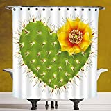 Cool Shower Curtain 3.0 by SCOCICI [ Cactus Decor,Thorny Cactus in the Shape of Heart and Yellow Flower Opuntia Spikes Decorative,Green Yellow Orange ] Waterproof and Mildewproof Polyester Fabric Bath