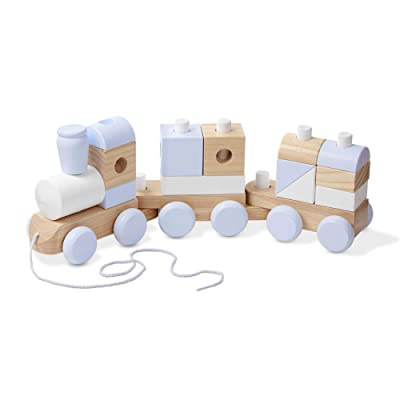 Melissa & Doug Jumbo Wooden Stacking Train - Natural: Toys & Games