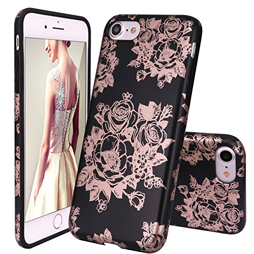 iPhone 7 Case,iPhone 8 Case,DOUJIAZ New Vogue Design Clear Bumper TPU Soft Case Rubber Silicone Skin Cover for iPhone 7(2016)/iPhone 8(2017) - Rose Gold Rose