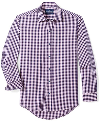 BUTTONED DOWN Men's Slim Fit Supima Cotton Spread-Collar Dress Casual Shirt, Navy/Berry Check, 14-14.5