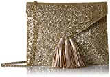 The Fix Izzi Glitter Envelope Clutch with Chain Crossbody Strap, Gold