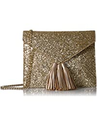 Izzi Glitter Envelope Clutch with Chain Crossbody Strap