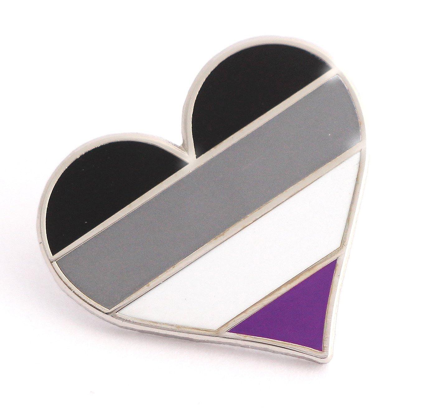 Pride pin Asexual LGBTQ gay heart flag lapel pin A14