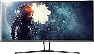 Monoprice 35in Zero-G Curved Ultrawide Gaming Monitor - 21:9, 1800R, UWQHD, 3440x1440p, 100Hz (120Hz OC), 4ms, AMD FreeSync, HDMI, DisplayPort, VA