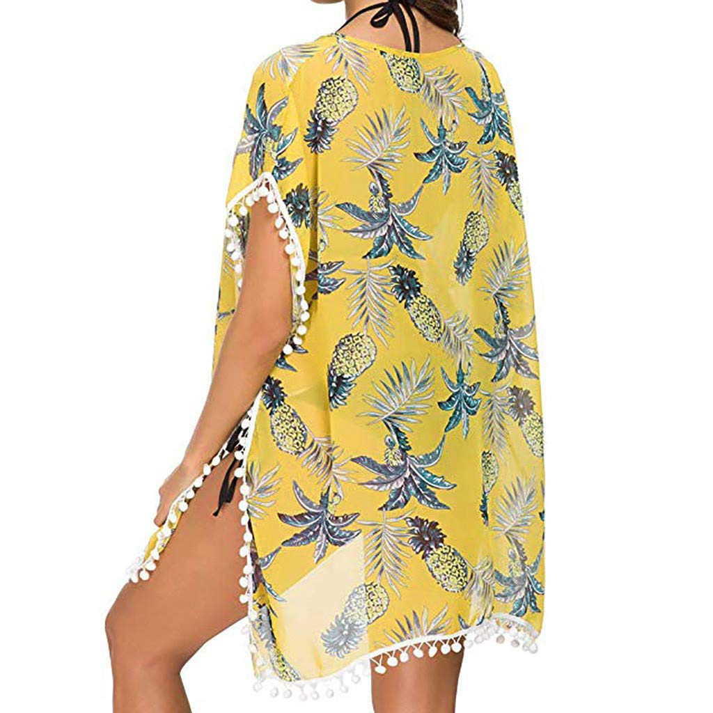 yoyorule Casual Summer Dress Womens Fashion Print with Small Ball Beach Skirt Short-Sleeved Bohemian Dress