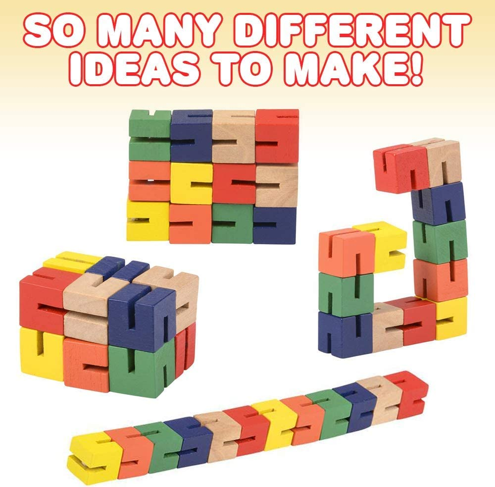 Twist and Lock Brain Teaser Fidget Sensory Toys for Kids Colorful Mind Game Stretch Stocking Stuffer and Party Favors for Boys and Girls Pack of 2 ArtCreativity Wooden Twist Cubes