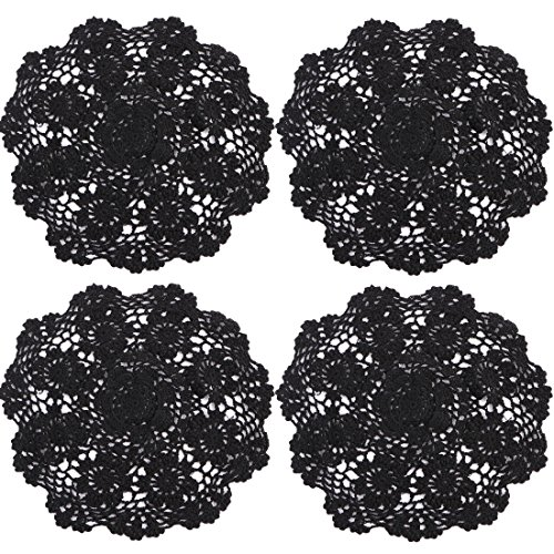 kilofly Crochet Cotton Lace Table Placemats Doilies Value Pack, 4pc, Rosary, Black, 12 inch -