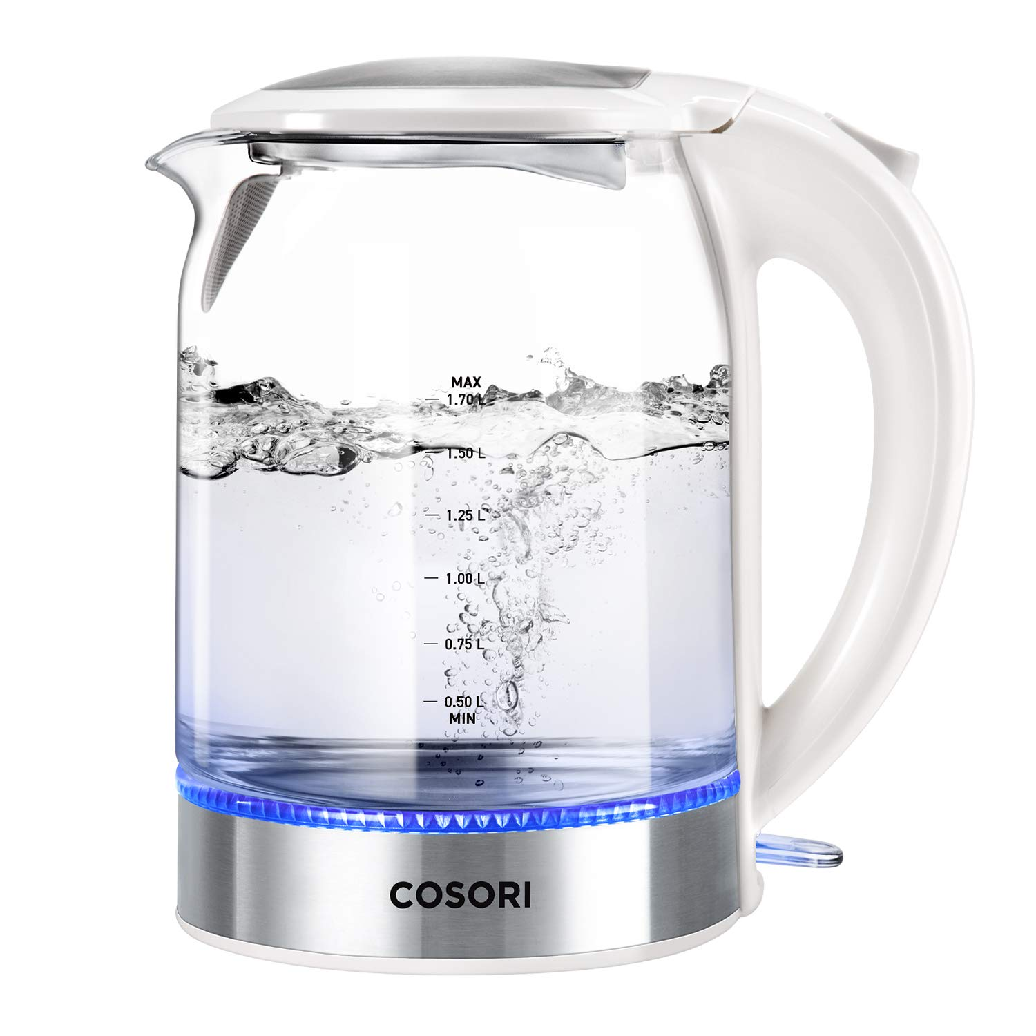 COSORI 1.7L Electric Kettle with Upgraded 100% Stainless Steel Filter,Inner Lid & Bottom,Glass Water Boiler & Tea Heater with LED Indicator, Auto Shut-Off&Boil-Dry Protection, BPA Free,2 Year Warranty