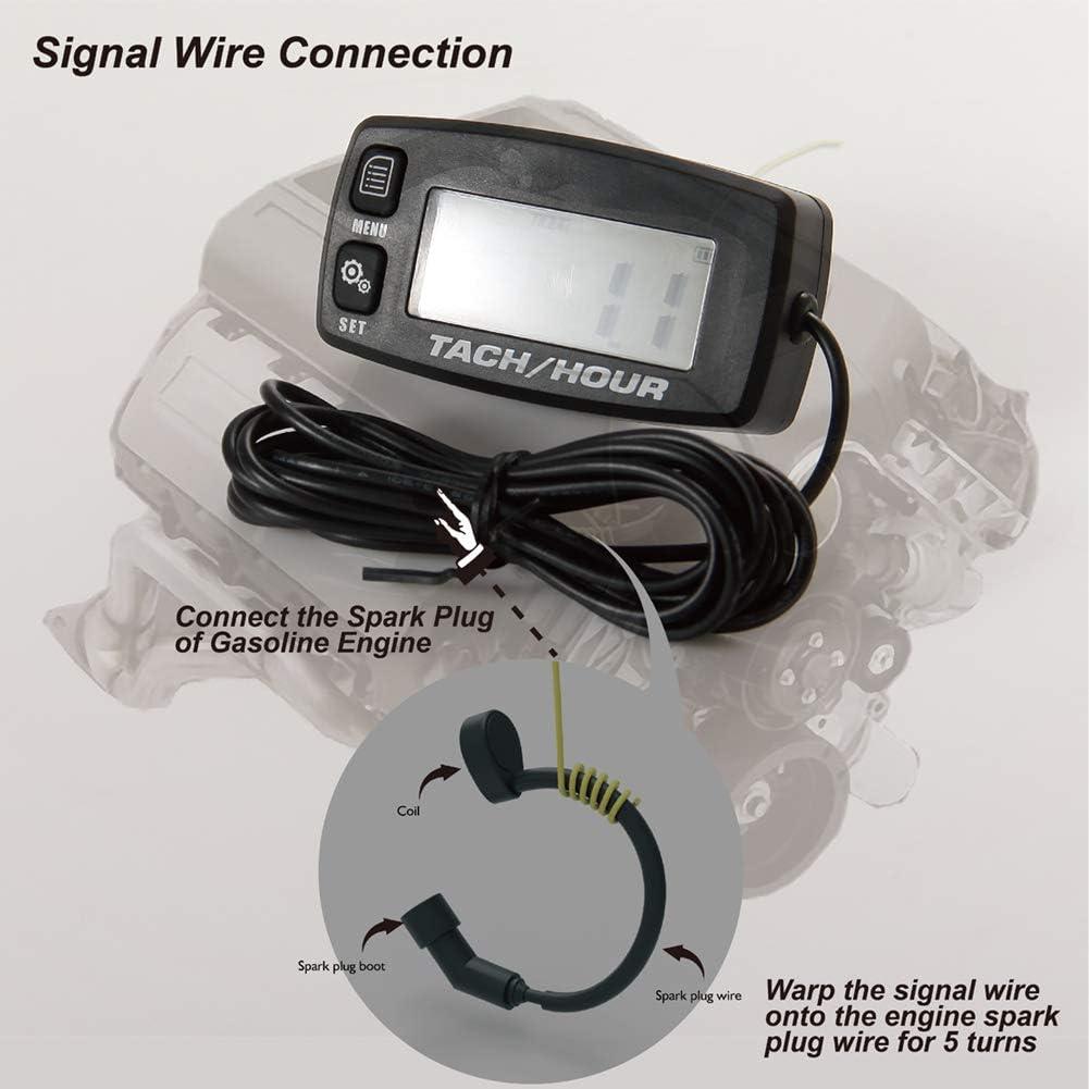 Hintergrundbeleuchtung einstellbar digital 2-Takt-Marine-Tachometer f/ür Go-Kart winzige Tachometer Abschaltung Foundown Tachometer f/ür kleine Motoren